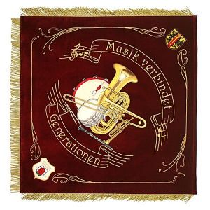 Musical instruments perfectly embroidered in needle painting on the music club flag
