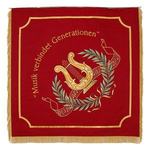 With Lyra and laurel wreath intertwined tune line on home side of the music club flag