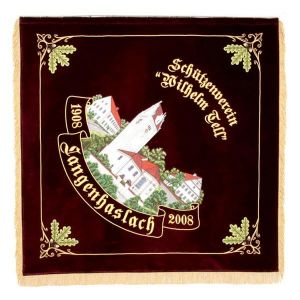 Elaborate town view on shooting club flag with oak leaves ornamentation