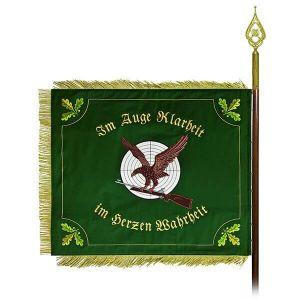 Rectangular shooting club flag with eagle motive