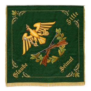 Shooting club flag with stylized eagle, holding a scepter and an orb