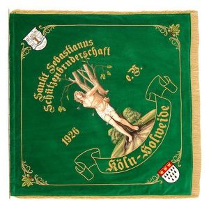 Saint Sebastian on the flag of a shooting brotherhood with crest and oak leaves
