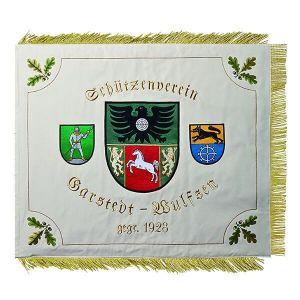 gerade, nicht diagonal, gestickte Fahne mit aufwändigen Wappen