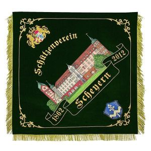 Castle view and old Bavarian crest with lions on shooting club flag of Scheyern