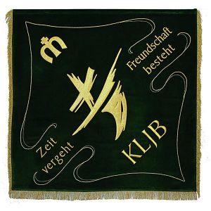 Vereinsfahne KLJB mit dem modernen Logo und Sinnspruch