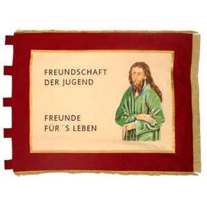 Rectangular Fahne of the rural youth movement with slogan about friendship and the figure of a saint
