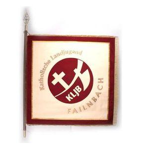 Vereinsfahne KLJB mit stilisiertem altem Logo in Kreis auf Vereinsseite