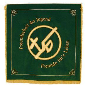 KLJB Vereinsfahne mit stilisiertem Motiv Kreuz und Pflug in Kreis und Sinnspruch
