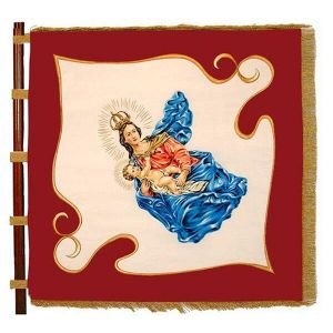 Wonderfully embroidered madonna with child on two-colored club flag of a rural youth movement