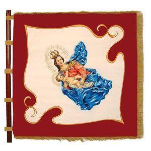 wunderbar schattierte Madonna mit Kind auf zweifarbiger Vereinsfahne einer KLJB