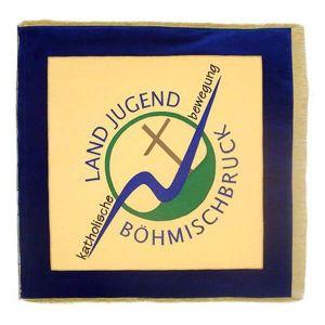 Vereinsfahne Landjugend mit stilisiertem Motiv und moderner Schriftart