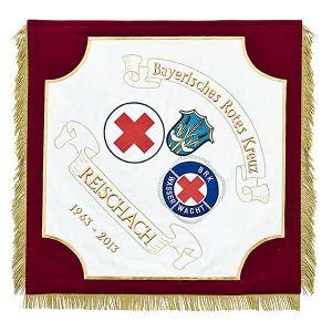 Rot-Kreuz Vereinsfahne mit Wasserwachtmotiv und Ortswappen