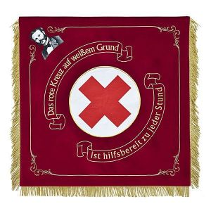 Red Cross club flag with big logo and picture of the founder