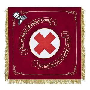 Rot-Kreuz Vereinsfahne mit großem Logo und Abbildung des Gründers
