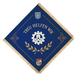 Fahne des Technischen Hilfswerks THW mit Logo und Wappen