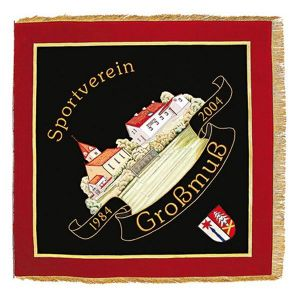Big embroidered town view on embroidered club flag of sports club