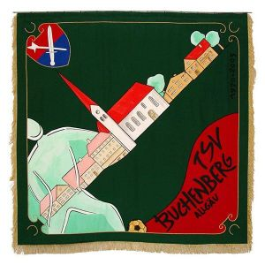 Uncommonly designed flag of the TSV Buchenberg in striking embroidery