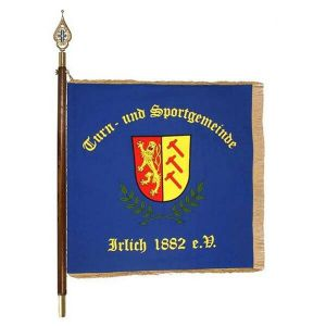 Municipality crest on the homeside of the sports club flag