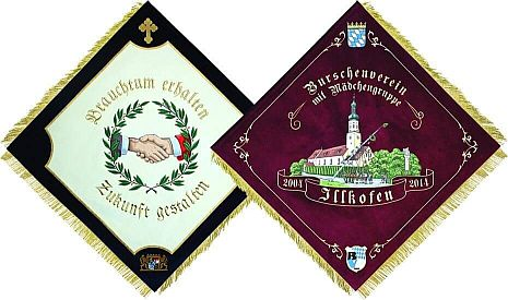 Club flags for fraternities or student leagues, front and backsides
