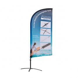 gut sichtbare Werbung an Beachflag Standard